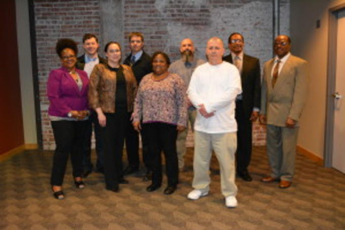 Goodwill Industries: Front Row Far Left, Sharon Dizer, Back Row Far left, James Blackburn; Fotos Photography: Back Row 2nd to Left, Christopher Fotos, with Roadmap to Success students