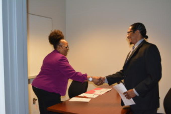 Left: Sharon Dizer, Goodwill Industries; Right: Chester Williams, Roadmap to Success student